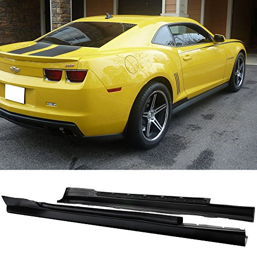 (Side Skirts Fits 2010-2015 Chevrolet Camaro | Chevy ZL1 Style Side Extensions Rocker Panels Body Kit by IKON MOTORSPORTS | 2012 2013 2014)