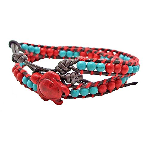 Timeless Ocean Sea Turtle Reconstructed Red Coral and Simulated Turquoise Double Leather Wrap Bracelet