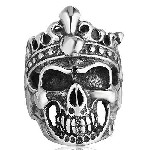 Men's Gothic Stainless Steel Rings Silver Black Motorcycle Skull Big Rock Punk Biker Ring Size 11