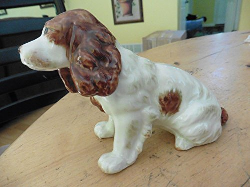Vtg Ceramic Cocker spaniel white red Brittany spaniel porcelain handpainted dog (Brittany Cocker Spaniel)