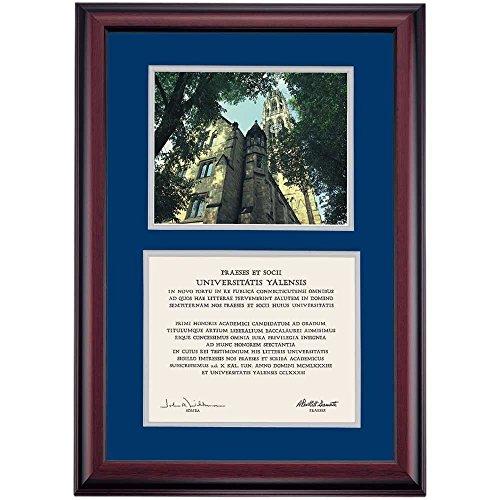 Campus Linens Yale Bulldogs Diploma Frame Blue Gray Matting Photograph