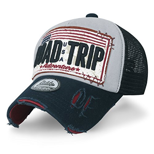 ililily Road Trip Vintage Distressed Snapback Trucker Hat Baseball Cap (Medium, Grey)