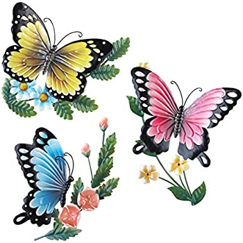 3D Metal Sculpted Butterflies Wall Art, Hand Painted, 3 PC Set