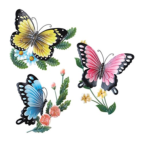 Collections Etc 3D Metal Sculpted Butterflies Wall Art, Hand-Painted, 3 PC Set