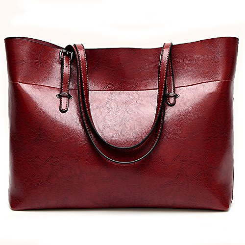 sac Zipper cuir d'épaule de en femme grand main sac vin de travail de fourre pour femmes transport Sac à Nikauto femme rouge de tout OIaw8xq