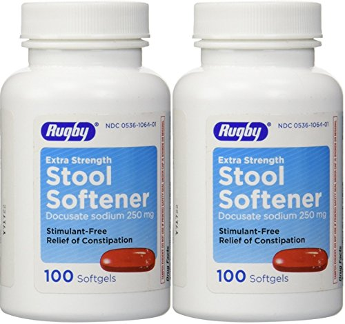 Docusate Sodium Extra Strenght 250 mg 200 Softgels for Gentle, Reliable Relief from Occasional Constipation 100 Softgels per Bottle Pack of 2 Bottles ()