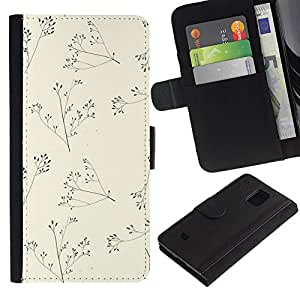KingStore / Leather Etui en cuir / Samsung Galaxy S5 Mini, SM-G800 / Beige minimalista naturaleza Verano