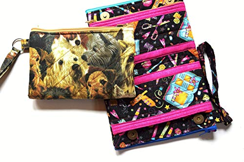 (Puppy Dogs Wristlet,Snap and Zippered Clutch,Phone Pocket, Bill Section,Quilted Multi Pocket Pencil Bag,Four Zipper Pockets)