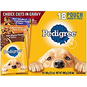 PEDIGREE Choice Cuts Variety Pack With Filet Mignon, Chicken, and Beef Wet Dog Food 3.5 oz. (18 Count)