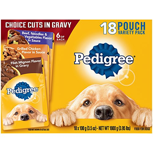 PEDIGREE Choice Cuts Variety Pack With Filet Mignon, Chicken, and Beef Wet Dog Food 3.5 oz. 18 Count