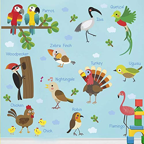 (EWQHD Forest Birds Parrot Chick Woodpecker Turkey Wall Stickers for Nursery Kids Room Decoration PVC Home Mural DIY Decal)