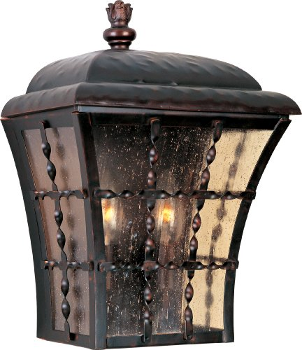 Maxim 30494ASOI Orleans 2-Light Outdoor Wall Lantern, Oil Rubbed Bronze Finish, Amber Seedy Glass, CA Incandescent Bulb , 18W Max., Wet Safety Rating, 2700K Color Temp, Acrylic Shade Material, 1250 Rated Lumens