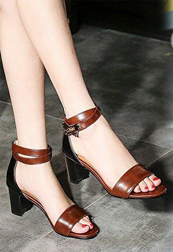 Aisun Women's Fashion Mid Block Heel Back Zipper Sandals Brown czfAaHX5J5