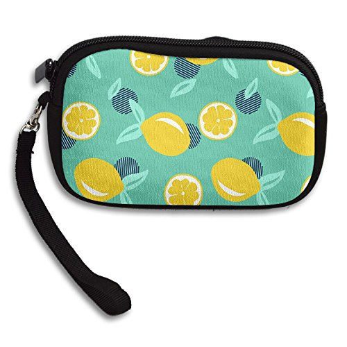 ZGZGZ Women's Girls Lemon Small Wallet Coins Wallet With Zipper -