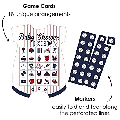Big Dot of Happiness Batter Up - Baseball - Picture Bingo Cards and Markers - Baby Shower Shaped Bingo Game - Set of 18: Toys & Games