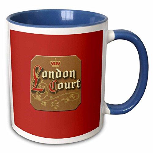 3dRose BLN Vintage Cigar and Cigarette Labels - London Court Cigar Label on a Bright Red Background - 15oz Two-Tone Blue Mug (mug_170115_11) ()