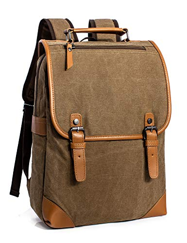 (Leaper Vintage Casual Canvas Backpack Travel Rucksack Book bag School Bag Coffee)