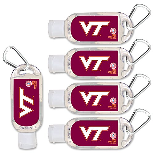 (NCAA Virginia Tech Hokies Hand Sanitizer with Clip, 5-Pack. Moisturizers Aloe Vera and Vitamin E. (1.5 oz Containers) NCAA Gifts for Men and Women, Christmas Stocking Stuffers)