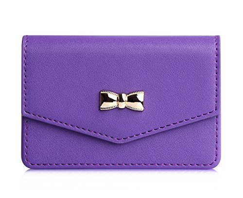Business card holder, FYY 100% Handmade Premium Leather Business Name Card Case Universal Card Holder with Magnetic Closure (Hold 30 pics of cards) Purple
