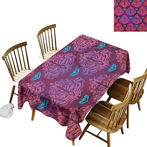 DONEECKL Grunge dust-Proof Tablecloth Daily use Abstract Nature Inspired Lilac Pattern Vintage Floral Design Symmetrical Symbols Multicolor W70 xL102