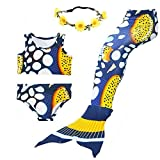 AMENON Girls Swimsuits Bikini Mermaid Tails for Swimming Support Monofin for Pool (S(4T)/ 3-4Y, G-Buble Fish)