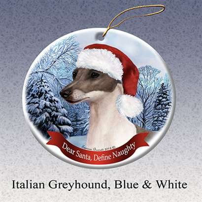 Holiday Pet Gifts Italian Greyhound, Blue and White Dog Porcelain Ornament