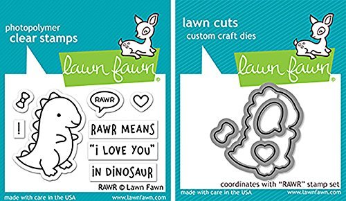 Lawn Fawn RAWR Clear Stamps and Dies Bundle LF1555 LF1556 (Set of 2 Items) by Lawn Fawn