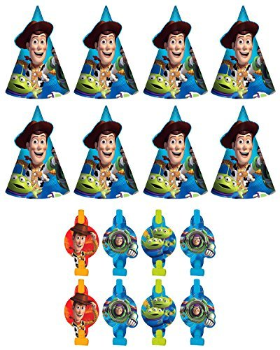 Disney Pixar Toy Story Birthday Party Favors Pack Including Blowouts  and Party Cone Hats  8 Guests