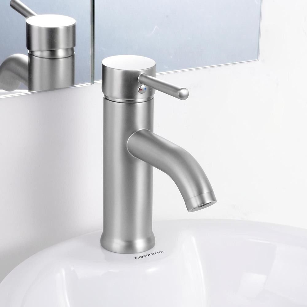 "Heavy Duty! 7""Ins Kitchen Bathroom Sink Faucet Single Handle Deck Mount Basin Mixer Tap Brushed Nickel #225 70%OFF"