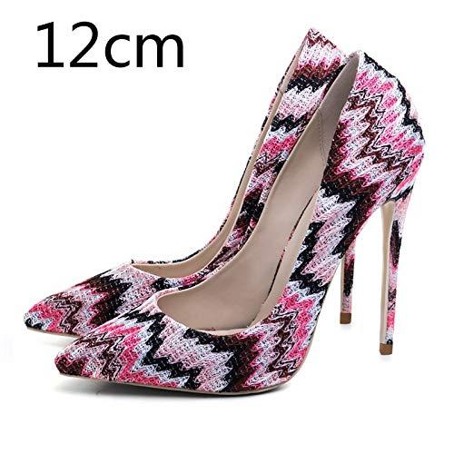 33 12cm Punta Mezclados Nuevas Tamaño Colores Mujer Zapatos on Ocasionales De Bombas Tacón Hoesczs Malla Pink Mujeres Estrecha Más Heel Alto Slip 45 UpqRxACw