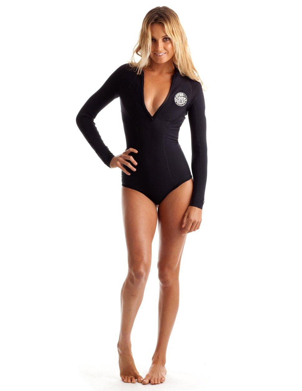 Rip Curl G Bomb Long Sleeve Spring Suit Hi Cut, Black/Black, Size 4