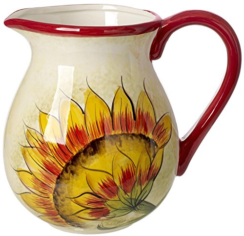 Cucina Italiana Ceramic Pitcher 112 oz. Sunflower Decor