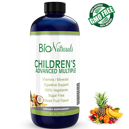 Bio Naturals Children's Liquid Multivitamin & Immune Booster - Natural Supplement for Kids & Toddlers with Vitamins A B C D3 E, Fiber, Fruits & Vegetables - No GMOs, Gluten, Sugar, Dairy, Soy - 16oz ()