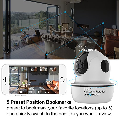 1080P Wireless IP Security Camera - GENBOLT WiFi HD CCTV Pan Tilt Spy Camera indoor for Home Surveillance, Two Way Audio Motion Detection Remote Webcam, Dog Cam, Baby Monitor by GENBOLT (Image #3)