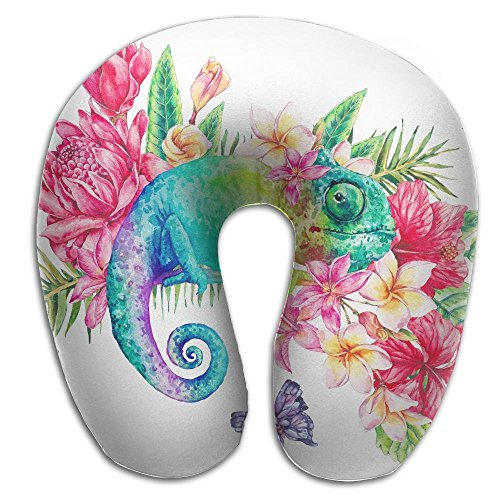 Case Chameleon Full (Watercolor Chameleon Flowers Print U Type Pillow Memory Foam Neck Pillow For Travel And Relief Neck Pain Fashion Super Soft Cervical Pillows With Resilient Material Relex Pollow)