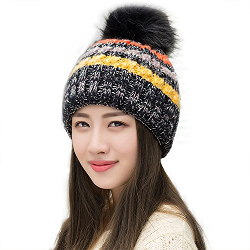 Ypser Women's Winter Slouchy Knitted Hat Cable Faux Fur Pom Beanie Hat ()