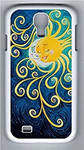Galaxy S4 Case, Personalized Protective Hard PC White Edge Sun Meet Moon Case Cover for Samsung Galaxy S4