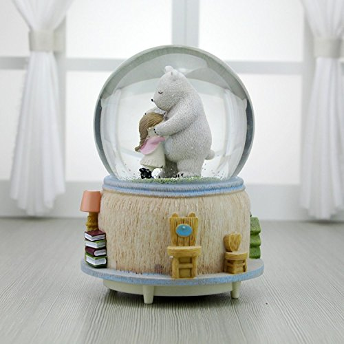(Sevenpring Creative Music Box Best Gifts Creative Warm Cartoon Bear Crystal Ball Music Box Automatic Snowing-Embrace)