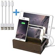 JZBRAIN Support de charge en Bois Universel Station de Charge d'accueil Dock recharge Organisateur Rangement pour câbles et Samsung iPhone iPad et autre multiple téléphones samrtphones Tablettes, 4 câbles inclus (le chargeur USB n'est Pas Inclus)