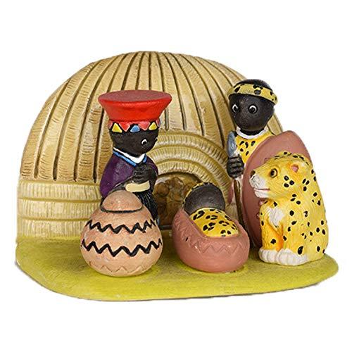 The Crabby Nook Small Nativity Scene Seasonal Decoration (African Nativity)
