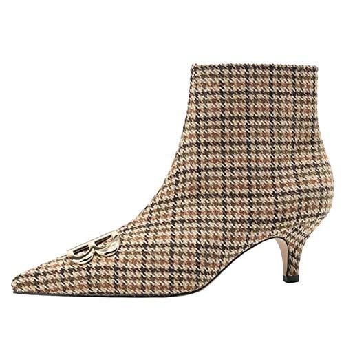 Short Fashion Women's Plaid Stiletto Carolbar Boots Apricot Wx8FnqIq64