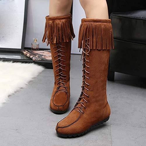 Boots Bottines Fourrées Femme Chaussures Bottes Lacets Classiques Hiver Franges À Marron Longues Plates Manadlian zUzt8nq