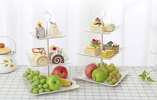 Imitation Ceramic 3 Layer Square Cake Rack Snack Pagoda Dessert Display Shelf (Size: 6