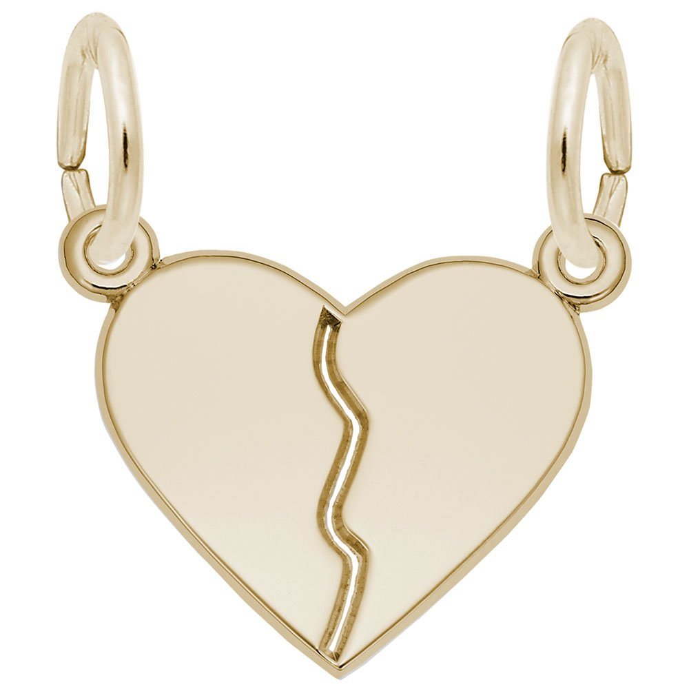 Rembrandt Charms, 2 Piece Heart, 22k Yellow Gold Plated Silver, Engravable