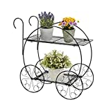 New Black 2 Tier Metal Plant Stand Decorative Planter Holder Flower Pot Shelf Rack