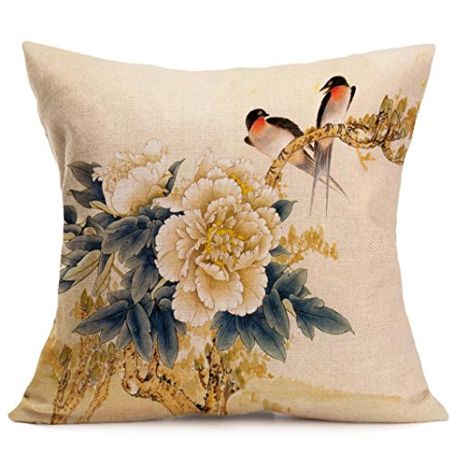 Price comparison product image Pillow Cases, Lavany Pillow Covers Peony Printed Pillowcases Cushion Home Car Sofa Decorative (A)