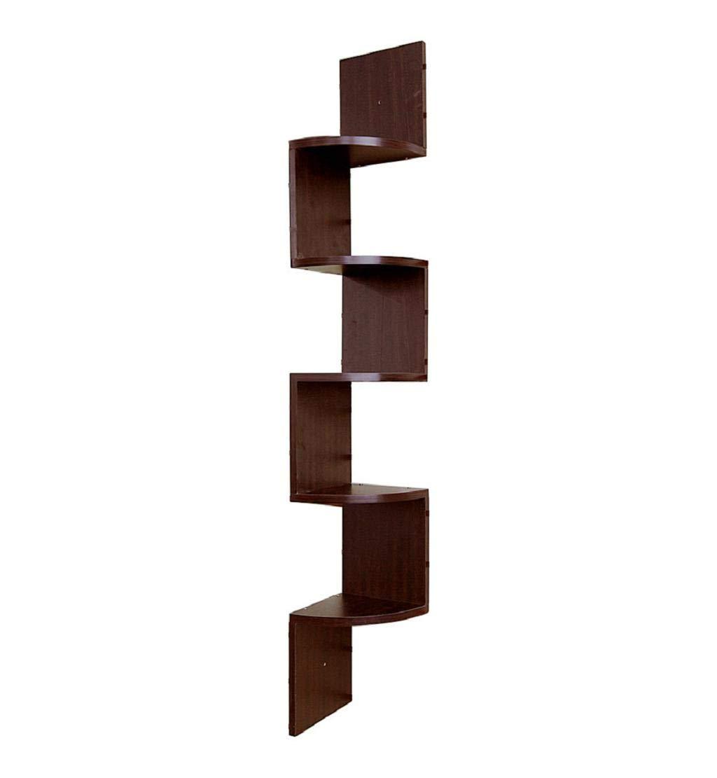 Clearance Sale DEESEE TM Stackable 5 Tiers Corner Wall Shelf Zig Zag Hanging Wall Shelves Corner Shelves Hanging Corner Storage Coffee