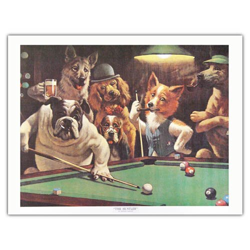 (The Hustler by Arthur Sarnoff Dogs Playing Pool  Art Print Poster (Overall Size: 20x16) (Image Size: 18x13.75))