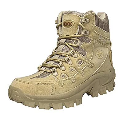 KESEELY Sport Walking Boot - Men Tactical Boots Desert Outdoor Hiking Leather Combat Shoes Mountain Climbing Shoes Anti Skid Boots
