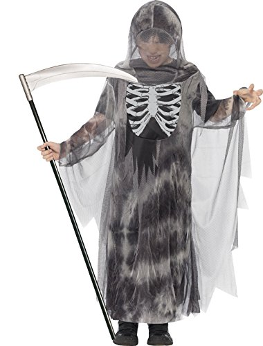 Ghostly Gent Child Costume (Smiffy's Tween Boy's Ghostly Ghoul Costume, Robe with Hood and Glow in the Dark Chest Detail, Serious Fun, Color: Black and White, Ages 12+, 44303)